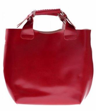 Torebka Skórzana typu Shopperbag + Kosmetyczka Produkt Włoski czerwona
