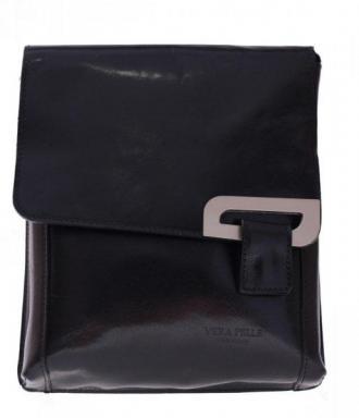 Klasyczna Listonoszka Skórzana Włoskiej firmy Vera Pelle czarna