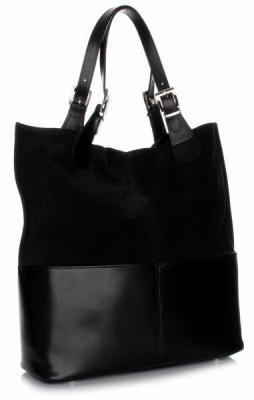 Ekskluzywna Włoska Torebka Shoppebag Skóra wys. jakości + Kosmetyczka czarna