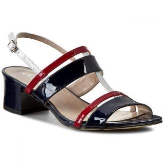 Sandały SAGAN - 2515 Granatowo Czerwono Biały Lakier
