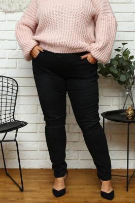 Spodnie jeans przecierane czarne rurki guma w pasie