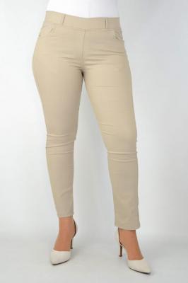 Spodnie cygaretki letnie guma w pasie beżowe PROMOCJA