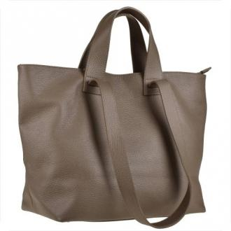 Torba skórzana shopper bag taupe na ramię i do ręki