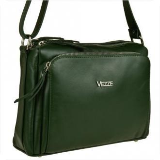 Modna skórzana torebka zielona vezze w rozmiarze l