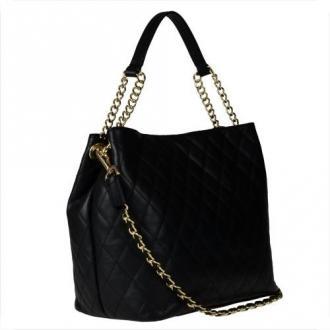 Duża skórzana torba pikowana czarna xl