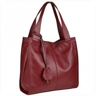 Duża torebka włoska shopper bag skóra naturalna ciemna czerwień
