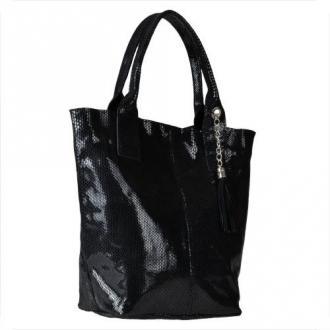 Czarna torebka shopper skórzana z połyskiem xl
