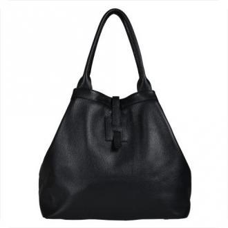 Torba shopper czarna pojemna skórzana xl