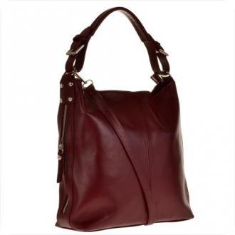 Skórzana torba na ramię shopper bag bordowa