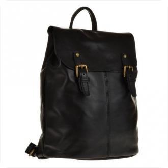 Skórzany plecak czarny z klapą, skóra cielęca najwyższej jakości