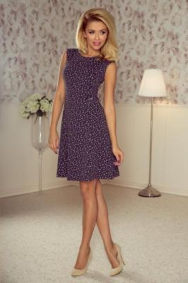 Ewelina Sukienka TRAPEZ - GRAFIT + fioletowe małe motylki