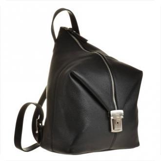 Zgrabny plecak skórzany czarny l