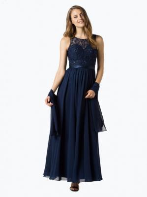 Niente - Damska sukienka wieczorowa z etolą, niebieski