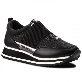 Sneakersy TOMMY HILFIGER - Elastic Retro Runner FW0FW03336 Black 990