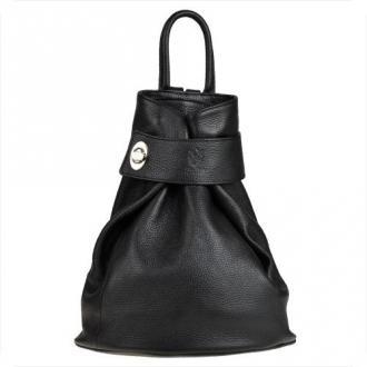 Zgrabny czarny plecak skórzany.