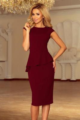 KLAUDIA Elegancka sukienka MIDI z baskinką - BORDOWA