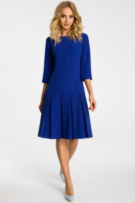 FABIENNE Sukienka z obniżoną talią i kontrafałdami - chabrowa