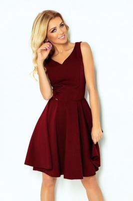 Marina Rozkloszowana sukienka - dekolt w kształcie serca - BORDOWA
