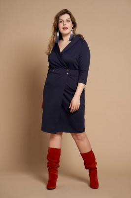 BRUNA NAVY elegancka szmizjerka plus size : Rozmiar - 44