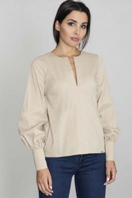 Beżowa Bluzka Koszulowa z Rozcięciem przy Dekolcie