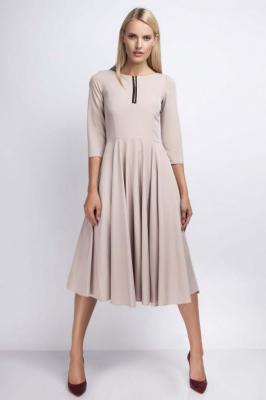 Beżowa Rozkloszowana Sukienka za Kolano z Kontrastowym Zamkiem