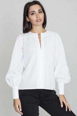 Biała Bluzka Koszulowa z Rozcięciem przy Dekolcie