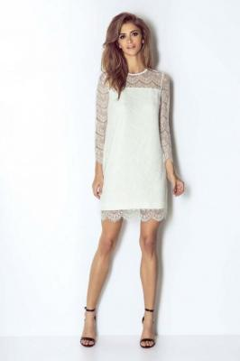 Białą Wizytowa Trapezowa Sukienka Koronkowa z Dzwonkowym Rękawem