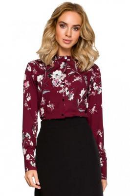 Bordowa Koszulowa Bluzka w Kolorowe Kwiaty z Falbankami