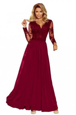 Bordowa Wieczorowa Sukienka Maxi z Koronkową Górą