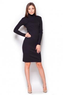 Czarna Casualowa  Prążkowana Sukienka z Golfem
