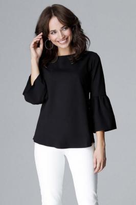 Czarna Elegancka Bluzka z Hiszpańskim rękawkiem ¾