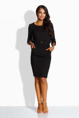 Czarna Elegancka Sukienka Zapinana na Guziki