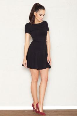 Czarna Skromna Sukienka z Rozkloszowanym Dołem  z Krótkim Rękawem