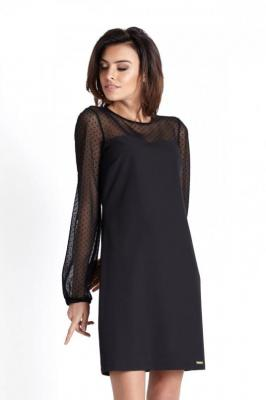 Wizytowa Sukienka z Tiulowym Rękawem - Czarna w Kropki