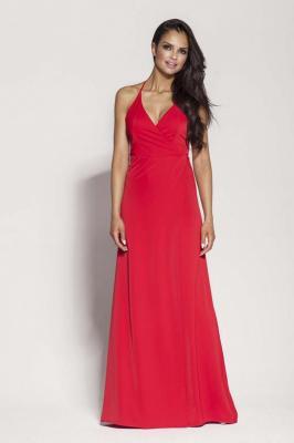 Czerwona Elegancka Długa Sukienka Wiązana na Szyi