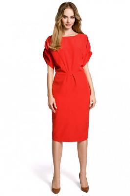Czerwona Koktajlowa Sukienka Typu Kimono z Zakładkami