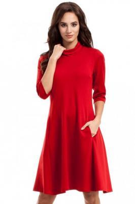 Czerwona Sukienka Trapezowa Dzianinowa z Golfem