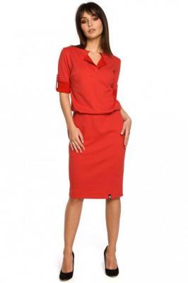 Czerwona Sukienka w Sportowym Stylu z Niską Stójką