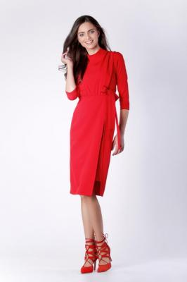 Dopasowana Czerwona Sukienka za Kolano z Rozporkiem na Boku