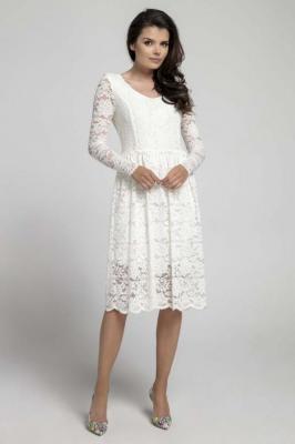Ecru Wizytowa Rozkloszowana Sukienka z Koronki
