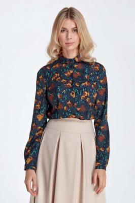Elegancka Bluzka Koszulowa z Okrągłym Kołnierzykiem - Wzór Brąz