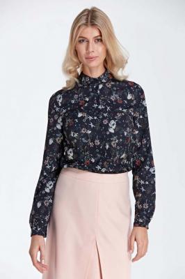 Elegancka Bluzka Koszulowa z Okrągłym Kołnierzykiem - Wzór Ecru