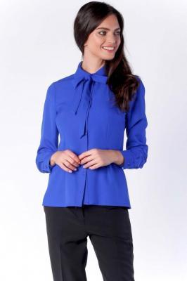 Elegancka Kobaltowa Koszulowa Bluzka z Wiązaniem przy Kołnierzyku