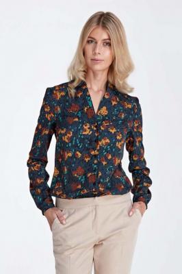 Elegancka Koszulowa Bluzka z Dekoltem w Szpic - Wzór Brąz