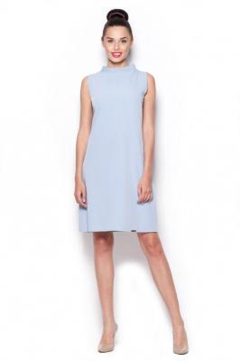 Elegancka Sukienka z Niskim Golfem - Niebieski