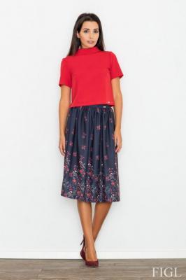 Granatowa Spódnica Rozkloszowana Midi w Kolorowe Kwiaty