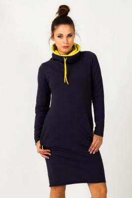 Granatowo-żółta Sportowa Sukienka z Długim Rękawem z Obfitym Golfem