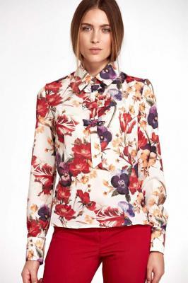Kwiatowa Nietuzinkowa Koszulowa Bluzka z Kokardkami