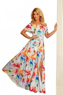 Kwiecista Maxi Sukienka z Hiszpańskim Dekoltem