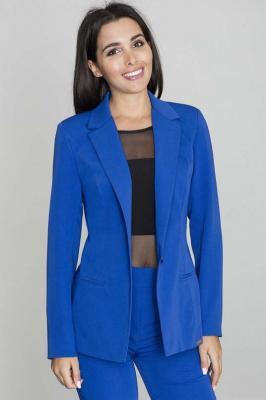 Żakiet Elegancki Taliowany na Jeden Guzik - Niebieski